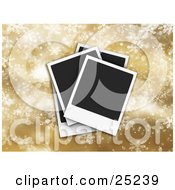 Clipart Illustration Of Three Piled Blank Polaroid Pictures Over A Golden Snowflake Christmas Background by KJ Pargeter