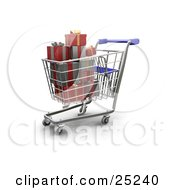 Full Metal Shopping Cart With A Blue Handle With Wrapped Christmas Presents