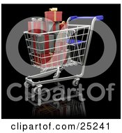 Full Metal Shopping Cart With A Blue Handle With Wrapped Red And Silver Christmas Presents