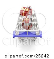 Above View Of A Metal Shopping Cart With A Blue Handle Full Of Wrapped Christmas Gifts
