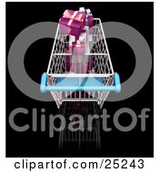 Above View Of A Metal Shopping Cart With A Blue Handle Full Of Wrapped Pink And Silver Christmas Gifts