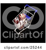 Clipart Illustration Of Wrapped White And Red Christmas Presents In A Metal Shopping Cart With A Blue Handle