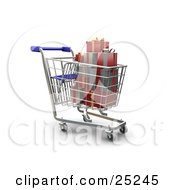 Clipart Illustration Of A Full Metal Shopping Cart With Wrapped Christmas Gifts by KJ Pargeter
