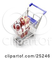 Clipart Illustration Of Wrapped Christmas Presents In A Metal Shopping Cart With A Blue Handle