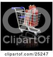 Clipart Illustration Of A Full Metal Shopping Cart With Red And Silver Wrapped Christmas Gifts by KJ Pargeter