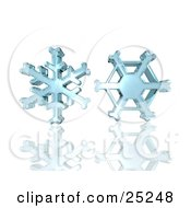 Clipart Illustration Of Two Ice Blue Wintry Christmas Snowflakes Hovering Over A Reflective White Background by KJ Pargeter