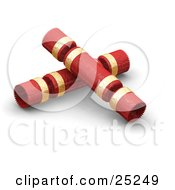 Clipart Illustration Of Two Christmas Gift Crackers Wrapped In Red And Gold by KJ Pargeter