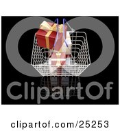 Clipart Illustration Of A Full Metal Shopping Basket With Wrapped Red And White Christmas Gifts With Gold Ribbons by KJ Pargeter