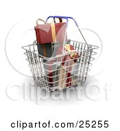 Metal Shopping Basket With Blue Handles Full Of Wrapped Red And Green Christmas Presents
