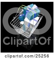 Clipart Illustration Of A Full Metal Shopping Basket With Wrapped White And Green Christmas Gifts by KJ Pargeter