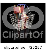 Clipart Illustration Of A Metal Shopping Basket With Blue Handles Full Of Wrapped Red And Green Christmas Gifts by KJ Pargeter