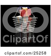 Clipart Illustration Of Green And Red Wrapped Christmas Presents With Gold Bows And Ribbons In A Metal Shopping Basket by KJ Pargeter