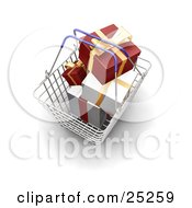 Metal Shopping Basket With Blue Handles Full Of Wrapped Red And White Christmas Gifts