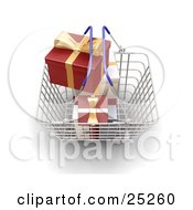 Metal Shopping Basket With Blue Handles Full Of Wrapped White And Red Christmas Gifts With Gold Bows And Ribbons