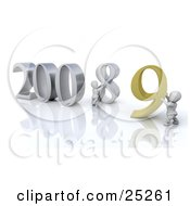 Clipart Illustration Of A White Character Pushing Back The Number Eight So Another Person Can Replace It With A Nine For The New Year Of 2009