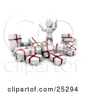 Overwhelmed White Character Waving His Arms In The Air And Standing Behind A Bunch Of Wrapped White And Red Christmas Presents