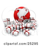 Clipart Illustration Of A Crowd Of White And Red Christmas Presents Surrounding A Red And Silver Globe With The American Continents