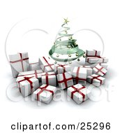 Clipart Illustration Of A Green Spiraled Christmas Tree With Golden Ornaments Over White And Red Christmas Gifts