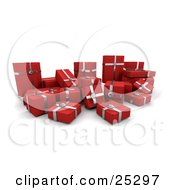 Crowd Of Christmas Presents Wrapped In Red Paper And Silver Bows And Ribbons