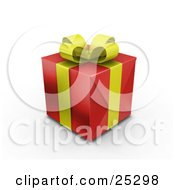 Unopened Christmas Gift Wrapped In Red Paper With A Yellow Ribbon And Bow