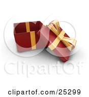 Opened Christmas Gift Wrapped In Red Paper With A Gold Ribbon And Bow