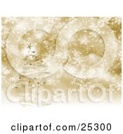 Clipart Illustration Of A Metallic Gold Christmas Tree With Ornaments And A Star Spiraling Over A Snowflake Background
