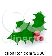 Three Green Christmas Holly Leaves With Three Red Berries Over White