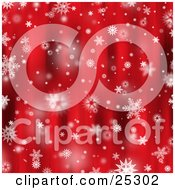 Clipart Illustration Of Various Snowflakes Falling Over A Beautiful Red Background