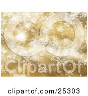 Clipart Illustration Of Delicate Wintry Snowflakes Falling Down Over A Golden Christmas Background