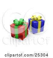 Two Unopened Christmas Gifts Wrapped In Red And Blue Paper With A Green And Yellow Ribbons And Bows