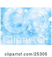 Clipart Illustration Of A Blue Background Of Snowflakes Falling On Christmas