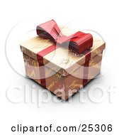 Unopened Christmas Gift Wrapped In Gold Christmas Greeting Paper With A Red Ribbon And Bow