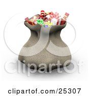 Clipart Illustration Of Santas Brown Sack Full Of Wrapped Christmas Presents Cinched At The Top