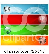 Clipart Illustration Of Four Web Design Banners Of Globes With Blue Red Green And Orange Backgrounds by KJ Pargeter