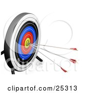 Clipart Illustration Of A White Black Blue Red And Yellow Target Board With Three Arrows In The Bullseye