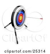 Clipart Illustration Of An Arrow In The Outer Rings Of A Target Board