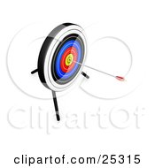 Clipart Illustration Of An Arrow In The Bullseye Of A Target