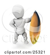 Clipart Illustration Of A White Character Standing And Holding Up His Yellow Surfboard