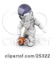White Character In A Helmet Kneeling By A Football