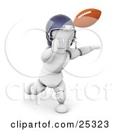 White Character In A Helmet Running To Catch A Football During A Game