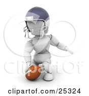 Kneeling White Character In A Helmet Touching A Football