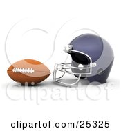 Brown Football In Front Of A Blue Helmet