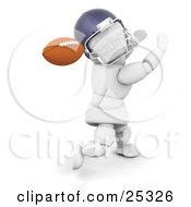 Clipart Illustration Of A Running White Character In A Helmet Holding His Arms Up And Looking Back To Catch A Football by KJ Pargeter