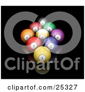 Clipart Illustration Of Nine Billiards Pool Balls Racked On A Reflective Black Surface