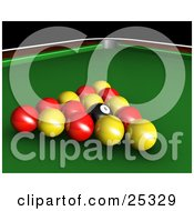 Clipart Illustration Of Red Yellow And Black Racked English Billiards Pool Balls On The Green Of A Table