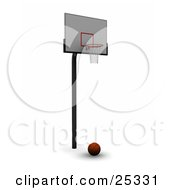 Clipart Illustration Of A Basketball Resting Still On The Ground Under A Hoop