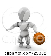 Clipart Illustration Of An Athletic White Character Dribbling A Basketball During Practice by KJ Pargeter