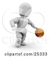 White Character Running And Dribbling A Basketball On The Court