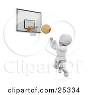 White Character Leaping To Toss A Basketball In The Hoop