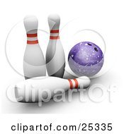 Clipart Illustration Of A Purple Bowling Ball Beside Two White Bowling Pins With Red Rings One Knocked Over On A White Background